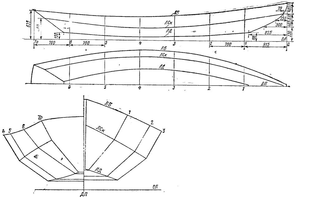 Гребная лодка чертежи